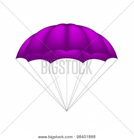 Parachute in purple design on white background poster