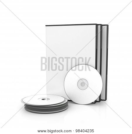 Dvd, Cd Box With Disks Isolated On A White Background