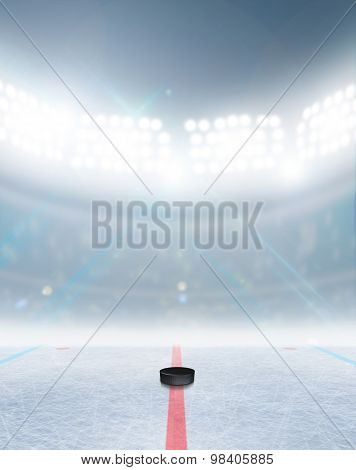 A generic ice hockey ice rink stadium with a frozen surface and a hockey puck under illuminated floodlights poster