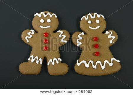 Gingerbread Couple On Black Background