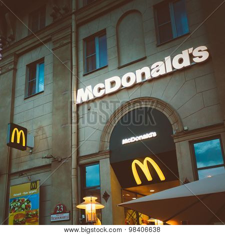 McDonalds restaurant sign. McDonald's Corporation is the world's