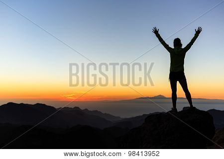 Woman Climber Success Silhouette In Mountains, Achievement Inspiration