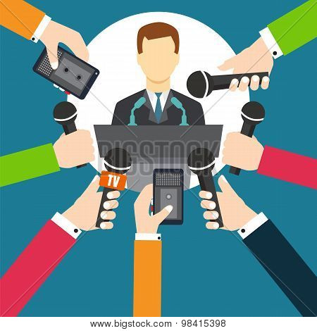 Interview A Businessman Or Politician Answering Questions Vector Illustration - Stock Vector