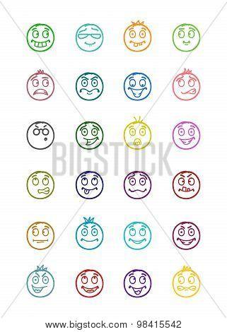 24 Smiles Icons Set 10