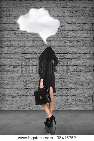 Headless businesswoman with briefcase