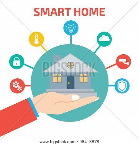 Smart House Technology. Vector Illustration Concept