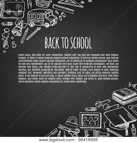 Banner Back To School Tools Sketch Icons Design Illustration.