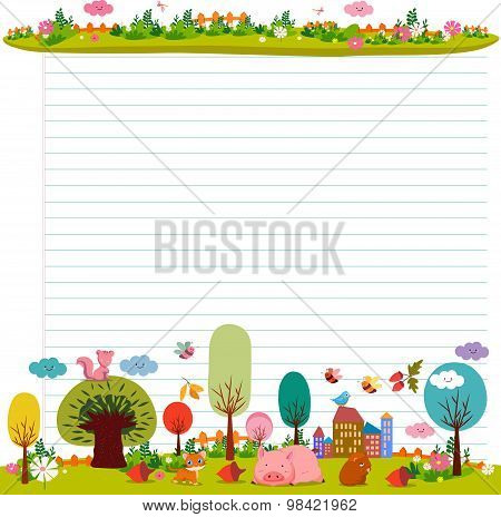 design elements for notebook, diary. Goodbye summer. Hello autumn poster