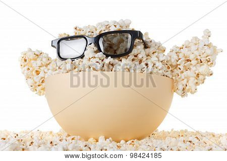 Smiling Happy Monster Of Popcorn, Glasses. Isolated On White