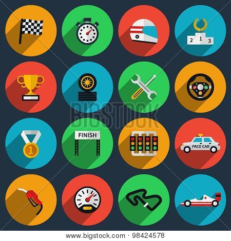 Vector set of racing icons in flat style