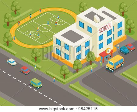 Isometric school or university vector building. 3d student avatar and school bus. Flat design.  Street structure, pupils and football field, tree and road, vector illustration poster