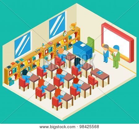 Education and school class isometric 3d concept