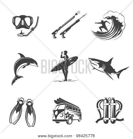 Beach icons black set. Summer, vacation and tourism signs