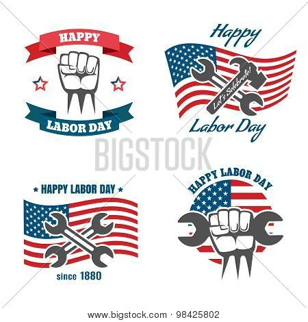 United States Labor Day national holiday vector logos, badges, emblems and labels set