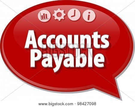 Speech bubble dialog illustration of business term saying Accounts Payable