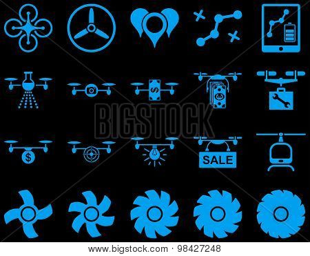 Air drone and quadcopter tool icons. Icon set style: flat vector images, blue symbols, isolated on a black background. poster