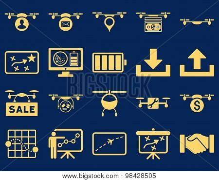Air drone and quadcopter tool icons. Icon set style: flat vector images, yellow symbols, isolated on a blue background. poster