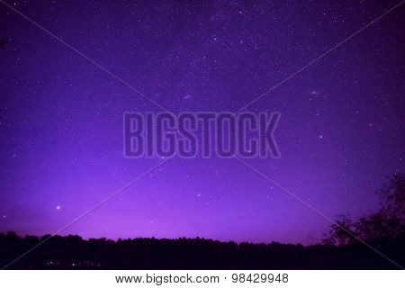 Beautiful Purple Night Sky With Many Stars