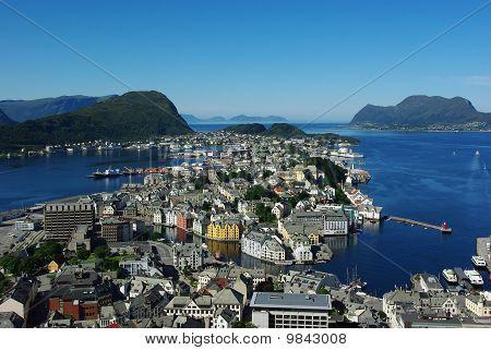 Aerial View Of The Sity Alesund, Norway