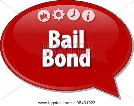 Speech bubble dialog illustration of business term saying Bail Bond