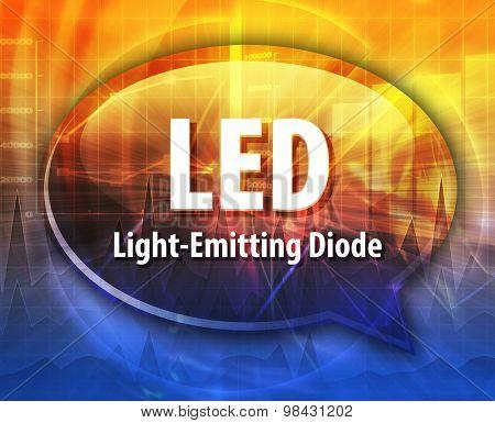 Speech bubble illustration of information technology acronym abbreviation term definition LED Light Emitting Diode