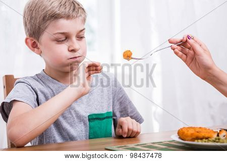 Young picky child refusing to eat dinner poster