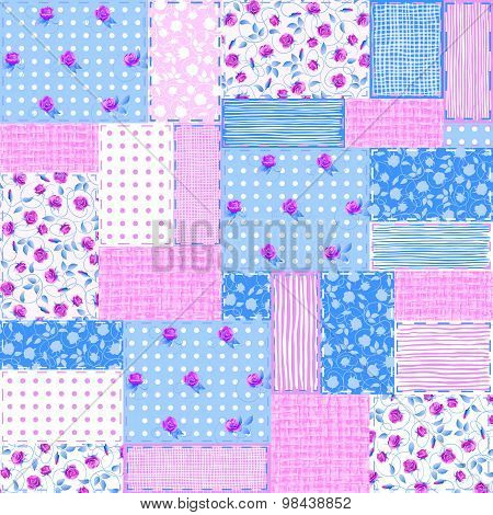 Seamless Square Patchwork Background. Vector Illustration.