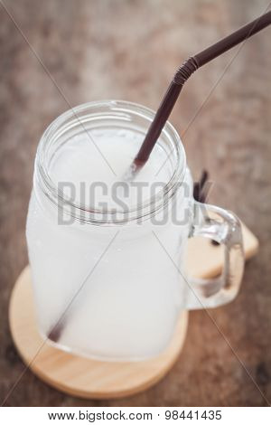 Glass Of Fresh Coconut Water