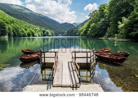Boats On Biogradska Lake In  National Park Biogradska Gora