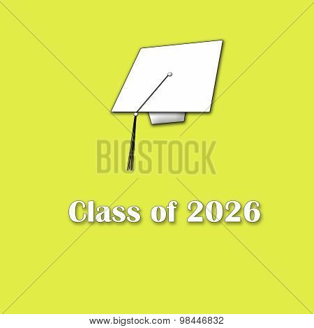 Class of 2026 White on Yellow Single Large