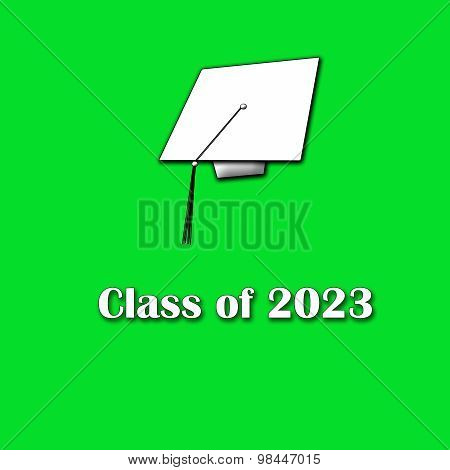 Class of 2023 White on Green Single Large