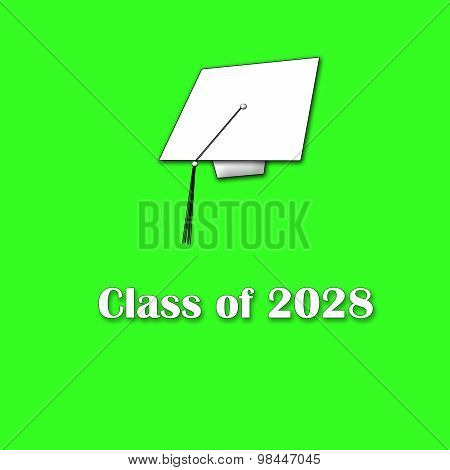 Class of 2028 White on Green Single Large