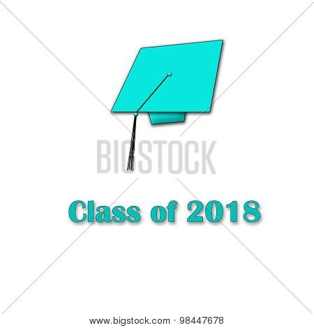 Class of 2018 Blue on White Single Large