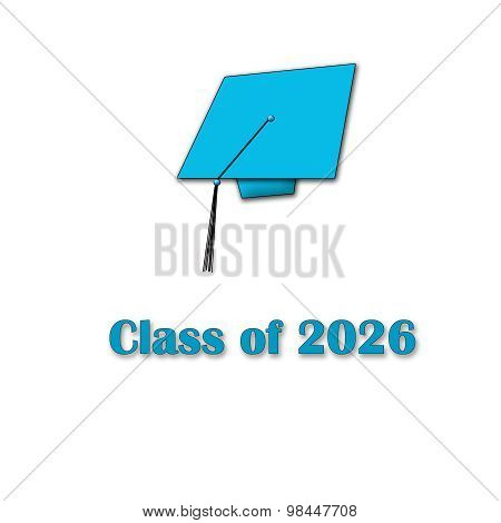 Class of 2026 Blue on White Single Large