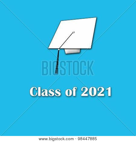 Class of 2021 White on Blue Single Large