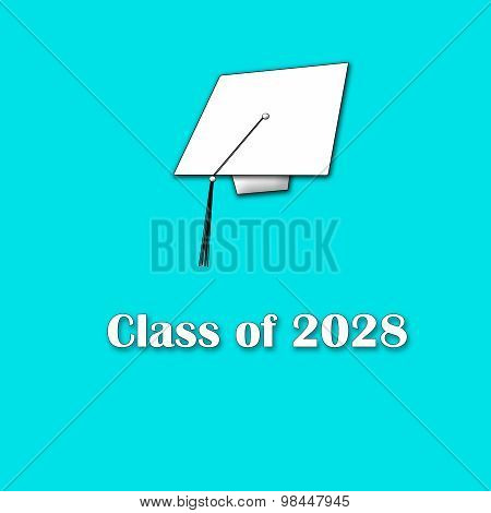 Class of 2028 White on Blue Single Large