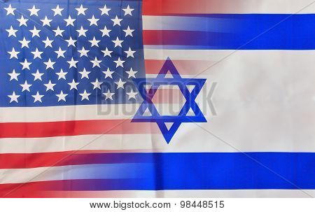 Blended Usa And Israel Flags
