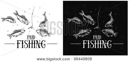 Fish floating to the bait (a hook). Illustration about fishing.