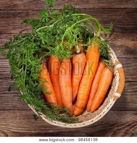 Carrot On The Basket. Rural Concept