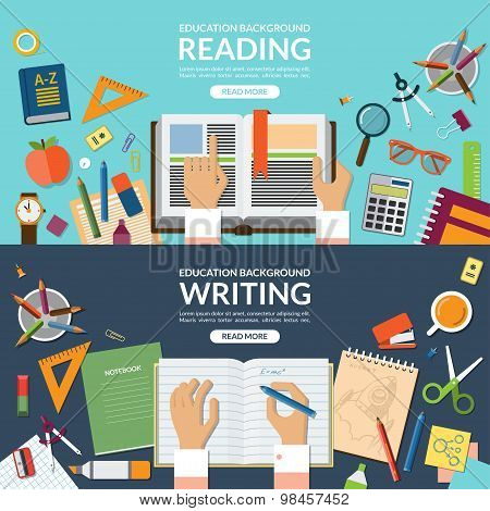 School and education, reading and writing concept banner set. Flat design vector illustration backgr