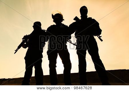Silhouette of soldier