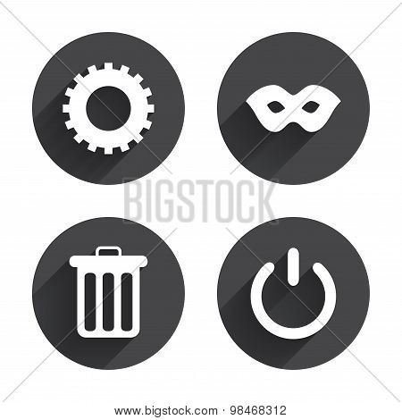 Anonymous mask and cogwheel gear icons. Recycle bin delete and power sign symbols. Circles buttons with long flat shadow. Vector poster
