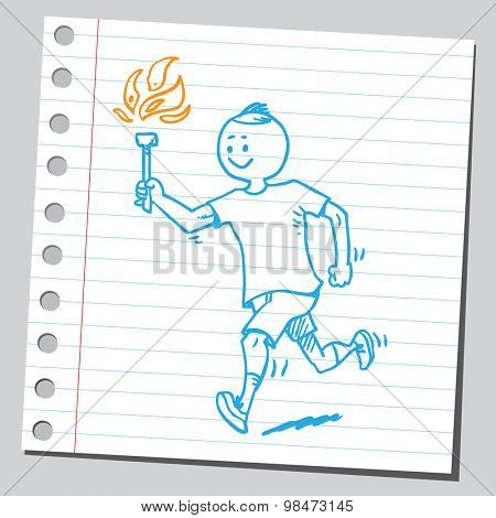 Athlete running with torch