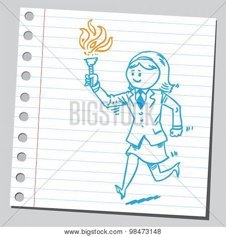 Athlete businesswoman running with torch