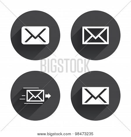 Mail envelope icons. Message symbols.