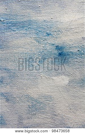 Abstract Blue Watercolor on Canvas 9