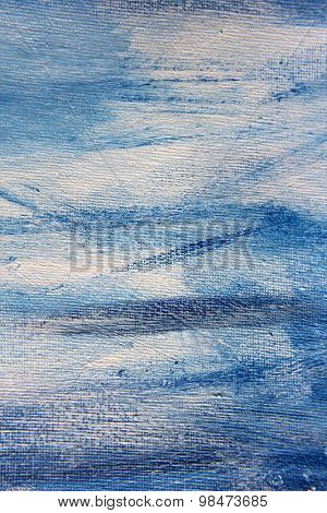 Abstract Blue Watercolor on Canvas 1
