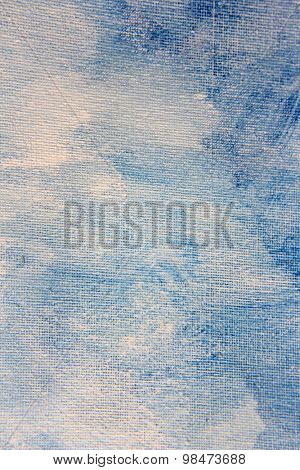 Abstract Blue Watercolor on Canvas 8