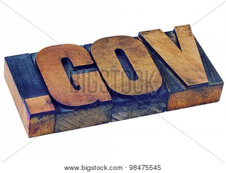 government - dot gov internet domain  - network address  for government- isolated text in vintage letterpress wood type stained by color inks