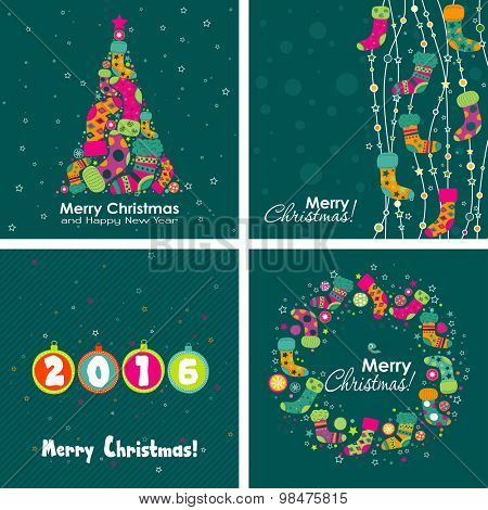 Template Christmas greeting card, boot, tree, vector illustration